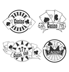 Casino and gambling badges or emblems vector