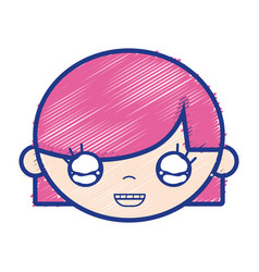 Child girl face with hairstyle design vector
