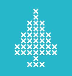 Christmas tree cross stitch vector