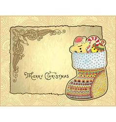 christmas watercolor sock vector image