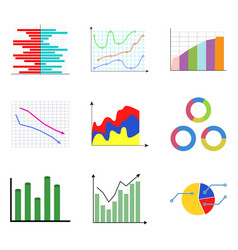 collection of color diagram and charts vector image