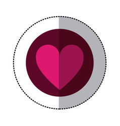 Color circle sticker with heart icon inside vector