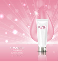 Cosmetic cream and drop on pink background vector