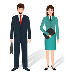 Couple of business male and female standing vector