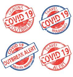 Covid19 19 corona virus outbreak alert stamps vector
