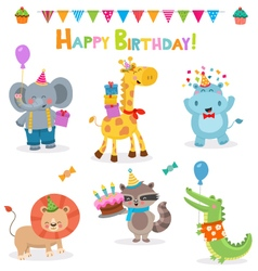 Cute Birthday Animal Collection vector image vector image