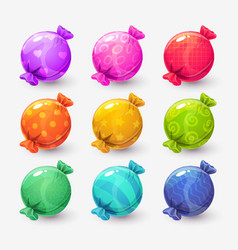 Cute cartoon colorful round wrapped candies vector