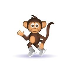 cute chimpanzee ice skate winter sport little vector image