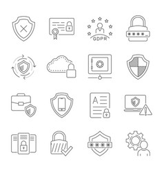 cyber security technology network icons set vector image