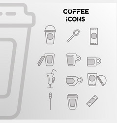 design of linear icons on the coffee theme vector image
