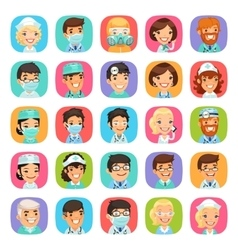 Doctors Cartoon Characters Icons Set vector image