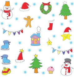 Doodle of color christmas set vector