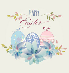 easter eggs greeting card in pastel colors vector image