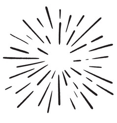 Element of design radial beams drawn by hand vector