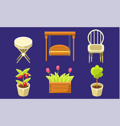 garden landscape design elements set tulips in vector image
