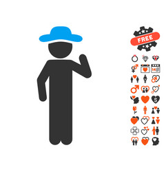 Gentleman opinion icon with love bonus vector