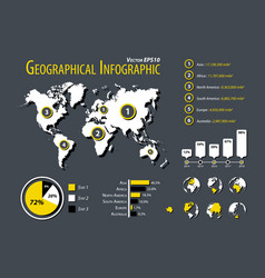 geographical infographic element planet map and vector image