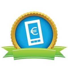 Gold euro phone logo vector