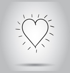 hand drawn heart icon on isolated background vector image