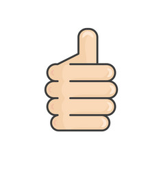 hand thumb up icon flat isolated on white vector image