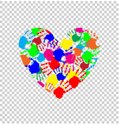 Heart icon made of colored hand prints vector