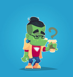 Hipster frankenstein with glasses and coffee funny vector