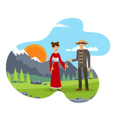 Husband and wife chinese couple flat vector