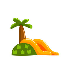 Inflatable slide with palm summer amusement park vector