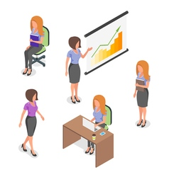 Isometric set of young businesswomen vector