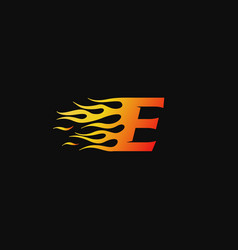 Letter e burning flame logo design template vector
