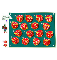Logical puzzle game for kids and adults find two vector