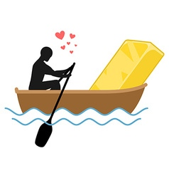 Lover gold Man and Golden bullion and ride in boat vector