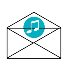 Mail envelope with media icon and colorful circle vector