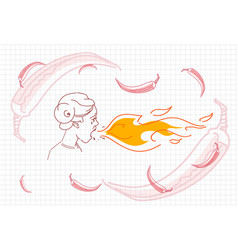 male breathing fire hot chili pepper concept vector image