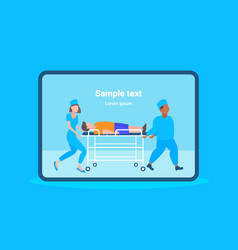male female doctors moving patient in hospital bed vector image