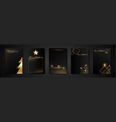 merry christmas gold template set with holiday vector image