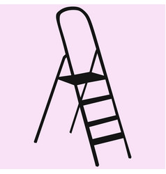 metallic step ladder vector image