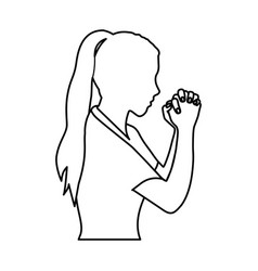 monochrome contour of half body woman praying vector image