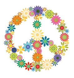 Peace symbol flowers vector