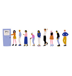 people dressed in casual clothes standing in line vector image
