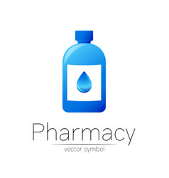 Pharmacy symbol with blue bottle and drop vector