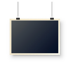 photo card hanging on paper clips digital vector image