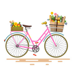 Pink bicycle - bike with flowers and vegetables vector