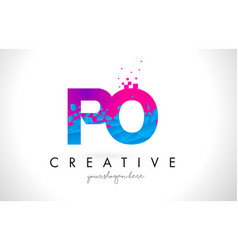 Po p o letter logo with shattered broken blue vector