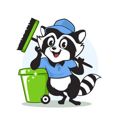 Racoon cleaning mascot cartoon vector