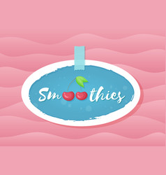 red smoothie cherry cocktail sticker vector image