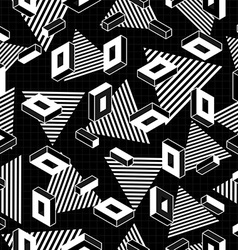 Retro geometry seamless pattern in black and white vector image