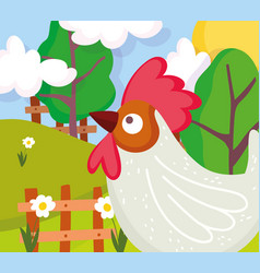rooster flowers field trees fence farm animal vector image