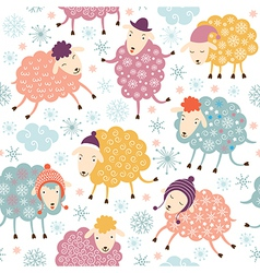 seamless background with cute sheeps vector image