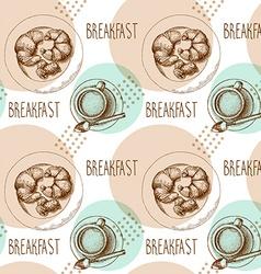 Seamless pattern breakfast vector